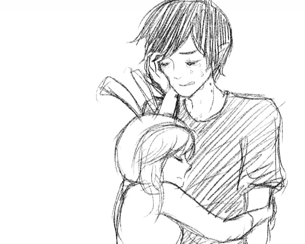 Anime Couple Hugging Drawing at GetDrawings