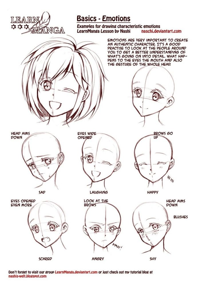 learn manga emotions by naschi how to draw manga face